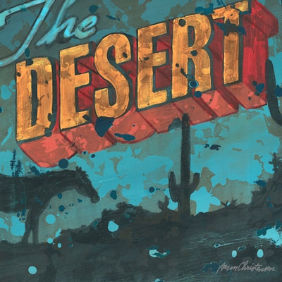 Wall Art Hanging that captures silhouettes of the desert with bold movie type typography