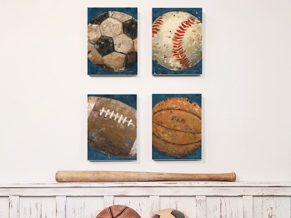 Vintage Sports Wall Art Collection featuring Football, Basketball, Soccer and Baseball by Aaron Christensen.  Perfect for the nursery, boys room and for sport themed decor  interior design.