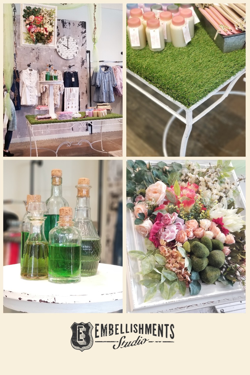 Wonderland Spring Store Display with great ideas for a garden party or wedding.